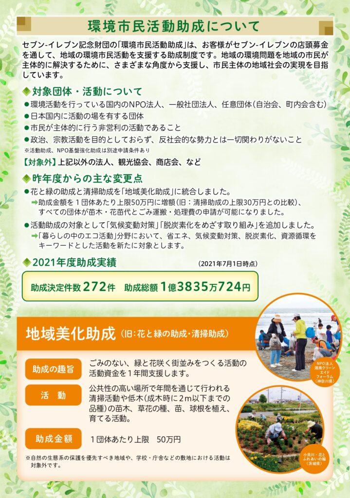 セブンイレブン記念財団「環境市民活動助成のご案内」パンフレット2